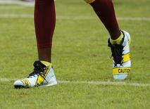 Oct 2, 2016; Landover, MD, USA; A detailed view of the cleats of Washington Redskins wide receiver DeSean Jackson (11) before a game between the Redskins and the Cleveland Browns at FedEx Field. Mandatory Credit: Brad Mills-USA TODAY Sports