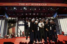 Oct 2, 2016; Chaska, MN, USA; The USA poses with the Ryder CUp during the closing ceremonies after the single matches in 41st Ryder Cup at Hazeltine National Golf Club. Mandatory Credit: Rob Schumacher-USA TODAY Sports