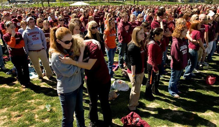 April 16, 2007: Gunman Seung-Hui Cho slaughters 32 people and kills himself at Virginia Tech, a university in Blacksburg, Virginia. REUTERS/Chris Keane/Files