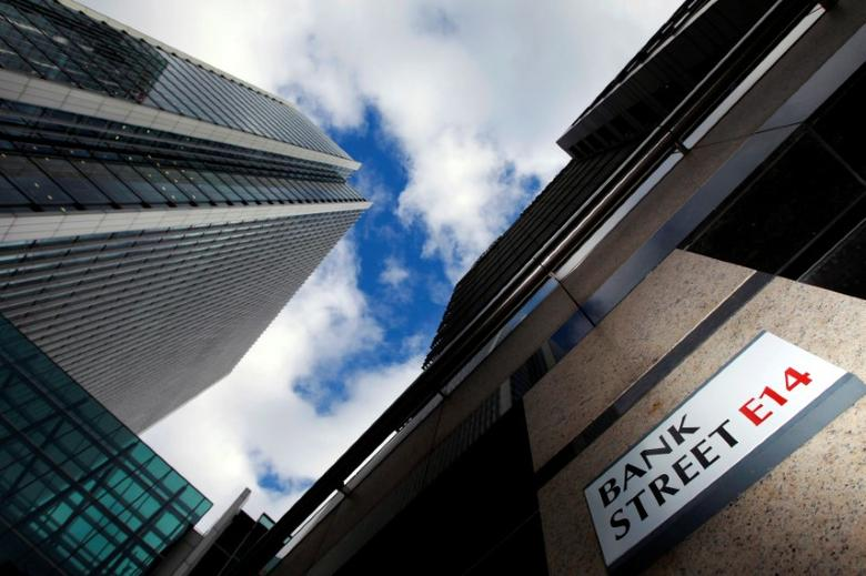 A sign for Bank Street and high rise offices are seen in the financial district in Canary Wharf in London, Britain, October 21, 2010.   REUTERS/Luke Macgregor/File Photo