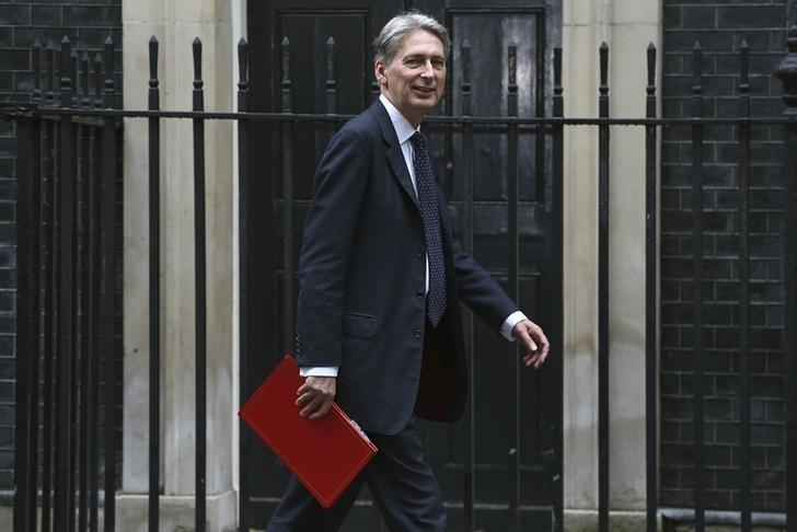 Britain's Chancellor of the Exchequer Philip Hammond arrives for a meeting of the ''Cabinet Committee on Economy and Industrial Strategy'' at Number 10 Downing Street in London, Britain August 2, 2016. REUTERS/Neil Hall/File Photo