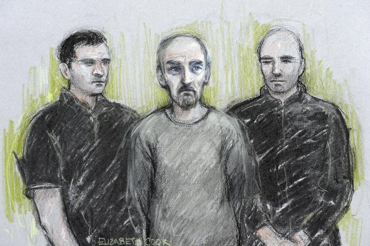 A court artist sketch by Elizabeth Cook shows Thomas Mair (C) appearing at Westminster Magistrates' Court in London, Britain June 18, 2016. Elizabeth Cook/Press Association via REUTERS/Files