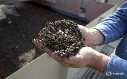 Рабочий компании Mosaic держит фосфоритовую руду. Форт-Мид, Флорида, 13 января 2010 года. Агрохимический холдинг Еврохим, реализующий в Казахстане проекты по выпуску удобрения на сумму более $1 миллиарда, собирается увеличить добычу фосфоритовой руды в этой стране до 1,5 миллиона тонн, сообщила компания во вторник. REUTERS/Scott Audette
