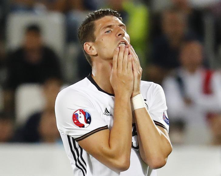 Football Soccer - Germany v Italy - EURO 2016 - Quarter Final - Stade de Bordeaux, Bordeaux, France - 2/7/16Germany's Mario Gomez reactsREUTERS/Michael DalderLivepic