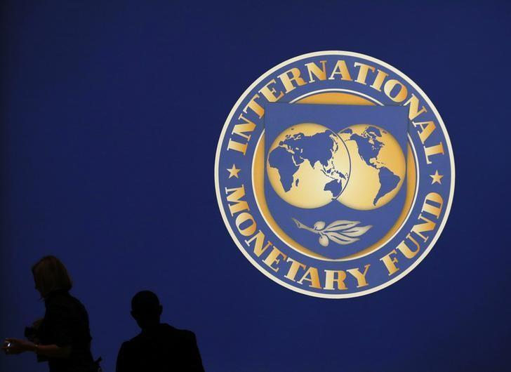 图为2012年10月国际货币基金组织(IMF)和世界银行年会会场IMF的logo。REUTERS/Kim Kyung-Hoon