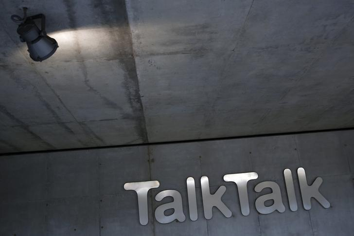 A spotlight shines on a company logo at a TalkTalk building in London, Britain October 23, 2015. REUTERS/Stefan Wermuth