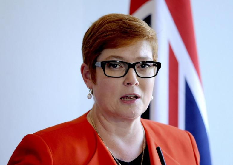 Australian Defence Minister Marise Payne speaks during a news conference with British Foreign Secretary Boris Johnson, Defence Secretary Michael Fallon, and Australian Foreign Minister Julie Bishop, at the Royal Hospital Chelsea in London, Britain September 9, 2016. REUTERS/Nick Ansell/Pool