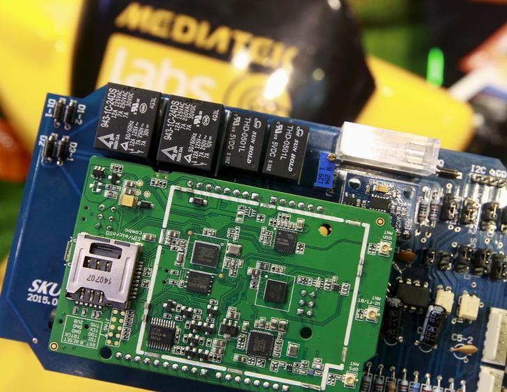 MediaTek chips are seen on a development board at the MediaTek booth during the 2015 Computex exhibition in Taipei, Taiwan, June 3, 2015. REUTERS/Pichi Chuang/Files