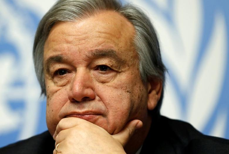 Antonio Guterres, High Commissioner for Refugees, pauses during a news conference for the launch of the Global Humanitarian Appeal 2016 at the United Nations European headquarters in Geneva, Switzerland December 7, 2015. REUTERS/Denis Balibouse