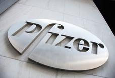 The Pfizer logo is seen at their world headquarters in New York April 28, 2014.  REUTERS/Andrew Kelly/File photo