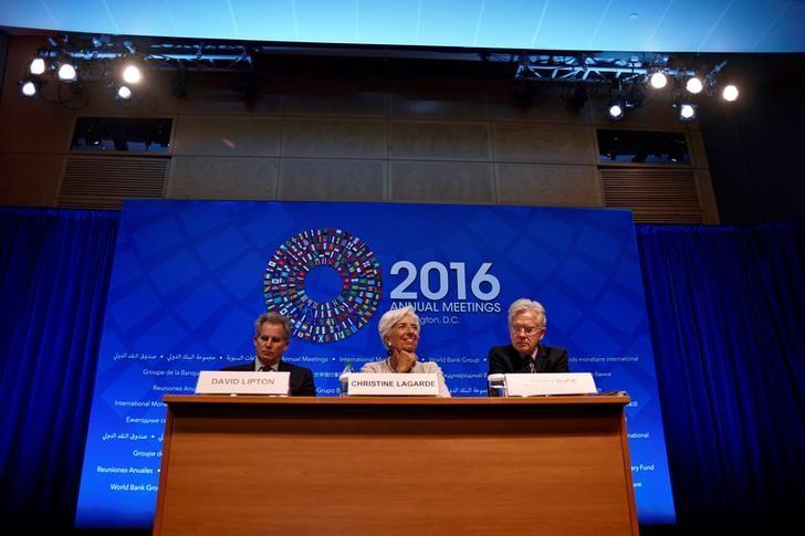 图为国际货币基金组织(IMF)与世界银行秋季大会新闻发布会。REUTERS/James Lawler Duggan