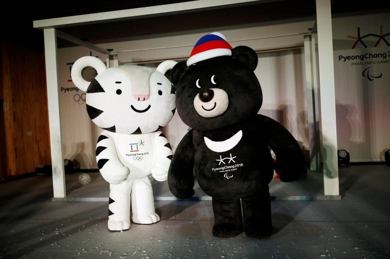 The mascots for the 2018 Pyeongchang Winter Olympics ''Soohorang'' and ''Bandabi'' (R) are seen during their launching ceremony in Pyeongchang, South Korea, July 18, 2016. REUTERS/Kim Hong-Ji