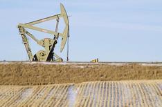 Una unidad de bombeo de crudo funcionando en Williston, EEUU, ene 23, 2015. Los analistas del petróleo no están convencidos de que la propuesta de la OPEP de recortar la producción por primera vez desde 2008 dará lugar a una subida importante de los precios, en medio de dudas sobre la viabilidad de la decisión del cartel, mostró el viernes un sondeo de Reuters.   REUTERS/Andrew Cullen