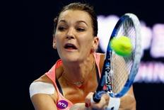 Tennis - China Open Women's Singles quarterfinal - Beijing, China - 08/10/16. Poland's Agnieszka Radwanska plays against Kazakhstan's Yaroslava Shvedova. REUTERS/Thomas Peter