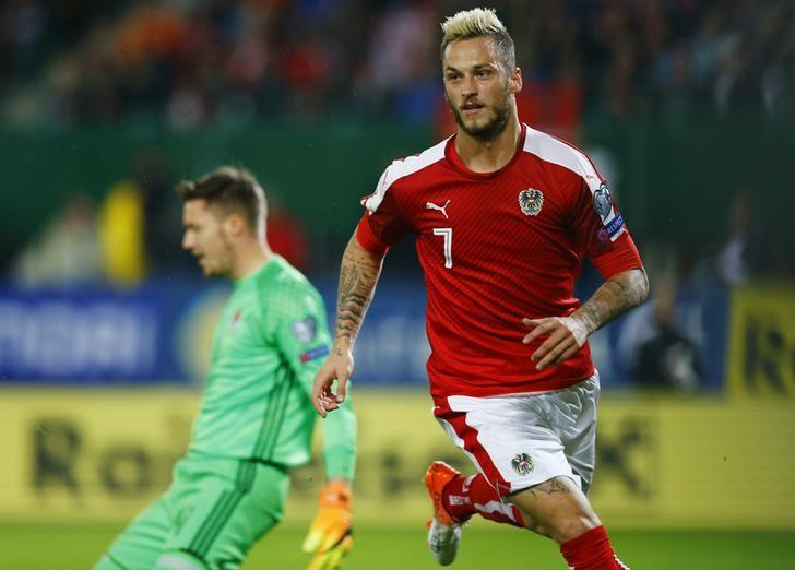 Football Soccer - Austria v Wales - 2018 World Cup Qualifying European Zone - Group D - Ernst Happel Stadium, Vienna, Austria - 6/10/16Austria's Marko Arnautovic celebrates scoring their first goal Reuters / Leonhard FoegerLivepic