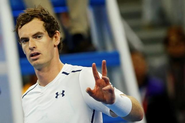 10月8日、テニスの中国オープン、男子シングルス準決勝、第1シードのアンディ・マリー(写真)が第5シードのダビド・フェレールを6─2、6─3で下し、同大会初の決勝進出を決めた(2016年 ロイター/Thomas Peter)