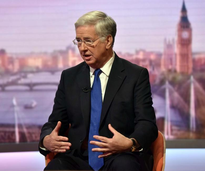 Britain's Defence Secretary Michael Fallon is seen speaking on the BBC's Andrew Marr Show in this photograph received via the BBC in London, Britain October 9, 2016. Jeff Overs/Courtesy of the BBC/Handout via REUTERS