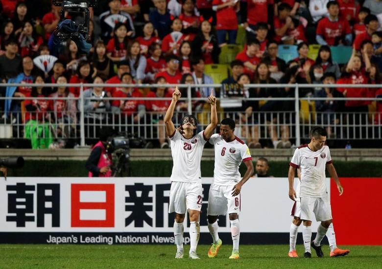 Football Soccer - South Korea v Qatar - World Cup 2018 Qualifier - Suwon, South Korea - 06/10/16 - Sebastian Soria of Qatar celebrates after scoring a goal. REUTERS/Kim Hong-Ji