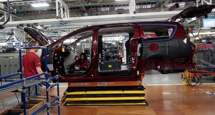 The frame of the all-new 2017 Chrysler Pacifica minivan rolls down the assembly line at the FCA Windsor Assembly plant in Windsor, Ontario, May 6, 2016. REUTERS/Rebecca Cook