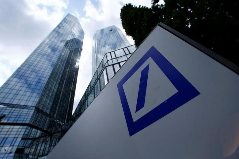 A Deutsche Bank logo adorns a wall at the company's headquarters in Frankfurt, Germany June 9, 2015. REUTERS/Ralph Orlowski/Files
