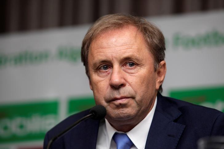 Serbian Milovan Rajevac, newly appointed coach of Algeria's national football team, attends a news conference at the Mohamed-Boudiaf Olympic Stadium in Algiers, Algeria July 14, 2016. REUTERS/Ramzi Boudina