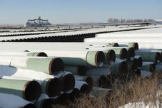 A depot used to store pipes for Transcanada Corp's planned Keystone XL oil pipeline is seen in Gascoyne, North Dakota November 14, 2014. The Republican-led U.S. House of Representatives approved the Keystone XL pipeline on Friday, but a similar measure struggled to get enough support in the Senate and President Barack Obama indicated he might use his veto if the bill does get through Congress.  REUTERS/Andrew Cullen   (UNITED STATES - Tags: ENERGY BUSINESS) - RTR4E84D