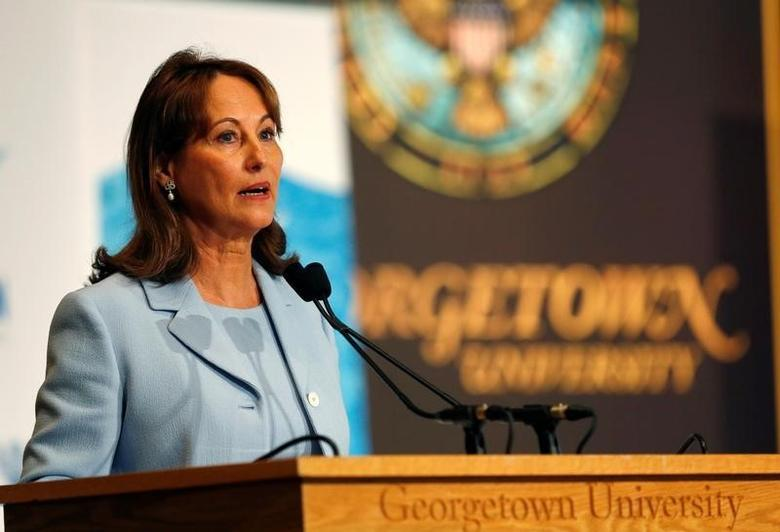 French President of the COP 21 Minister for Environment, Energy and Marine Affairs Segolene Royal delivers her remarks at the ''Our Ocean'' conference at Georgetown University in Washington, U.S., September 16, 2016.   REUTERS/Gary Cameron