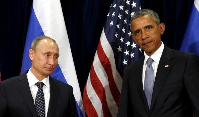U.S. President Barack Obama and Russian President Vladimir Putin meet at the United Nations General Assembly in New York September 28, 2015. REUTERS/Kevin Lamarque