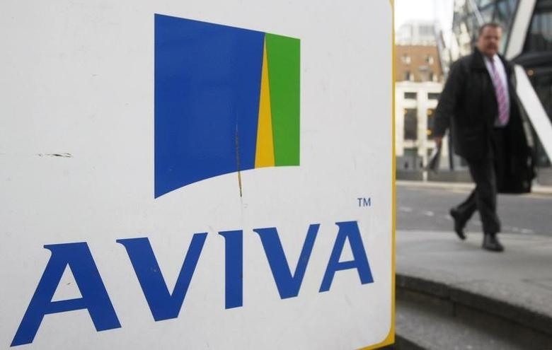 A man walks past an AVIVA logo outside the company's head office in the city of London March 5, 2009REUTERS/Stephen Hird