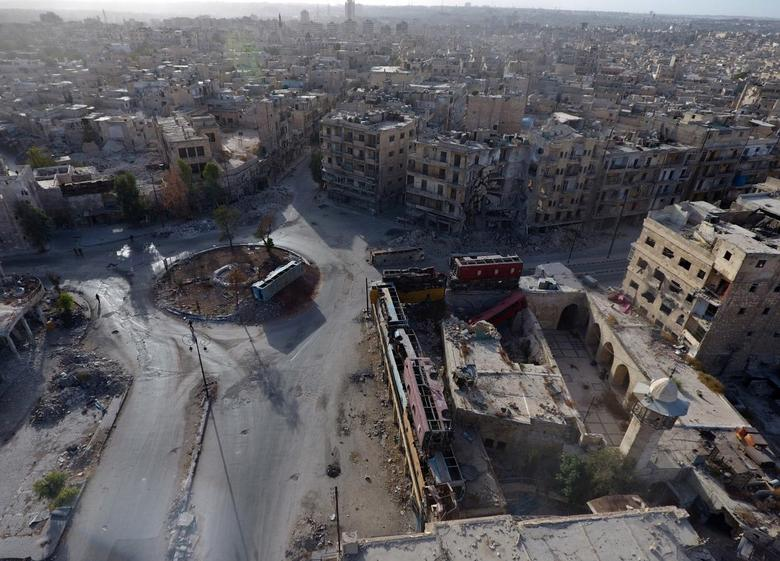 A general view taken with a drone shows the damage in the rebel-held Bab al-Hadid neighbourhood of Aleppo, Syria, October 13, 2016. REUTERS/Abdalrhman Ismail
