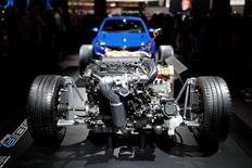 A Peugeot 308 R Hybrid engine is displayed at the Paris auto show, in Paris, France, October 14, 2016. REUTERS/Benoit Tessier