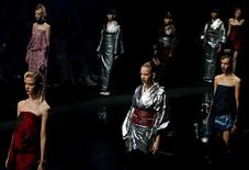 """Models present creations by designer Yoshiki, leader of Japan's rock band """"X Japan,"""" from his Spring/Summer 2017 collection for his brand YOSHIKIMONO during Tokyo Fashion Week in Tokyo, Japan October 17, 2016. REUTERS/Toru Hanai"""