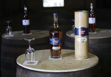 """A bottle of """"Masters Selection"""" Havana Club rum is displayed at the San Jose factory on the outskirts of Havana September 29, 2011.  REUTERS/Desmond Boylan"""