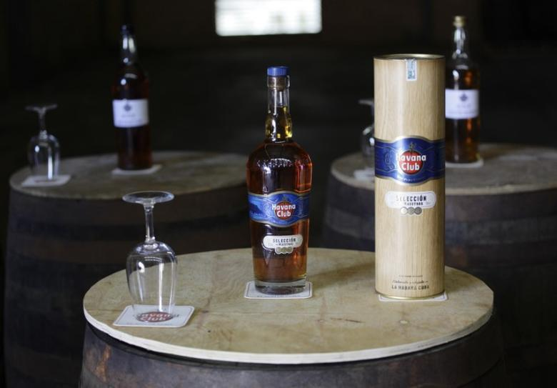 A bottle of ''Masters Selection'' Havana Club rum is displayed at the San Jose factory on the outskirts of Havana September 29, 2011.  REUTERS/Desmond Boylan