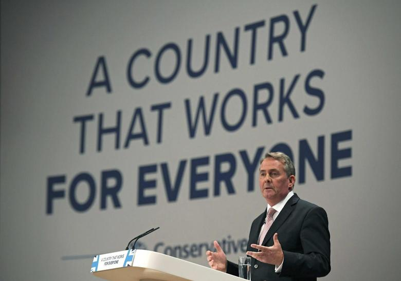 Britain's International Trade Secretary Liam Fox speaks at the Conservative Party conference in Birmingham, Britain October 3, 2016. REUTERS/Toby Melville