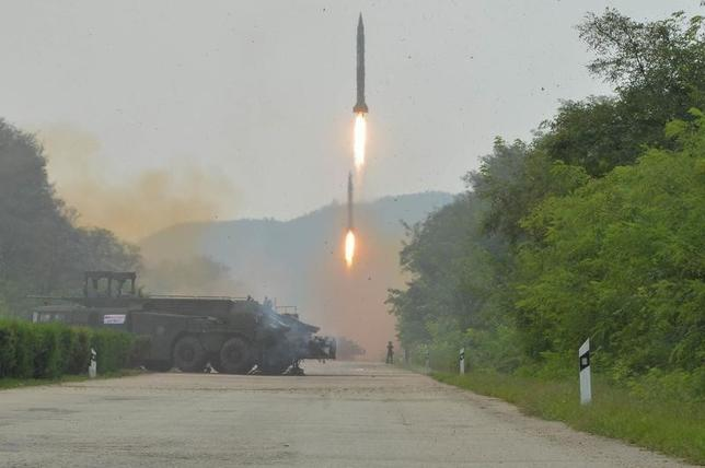 A fire drill of ballistic rockets by Hwasong artillery units of the KPA Strategic Force is pictured in this undated photo released by North Korea's Korean Central News Agency (KCNA) in Pyongyang September 6, 2016. KCNA/via Reuters