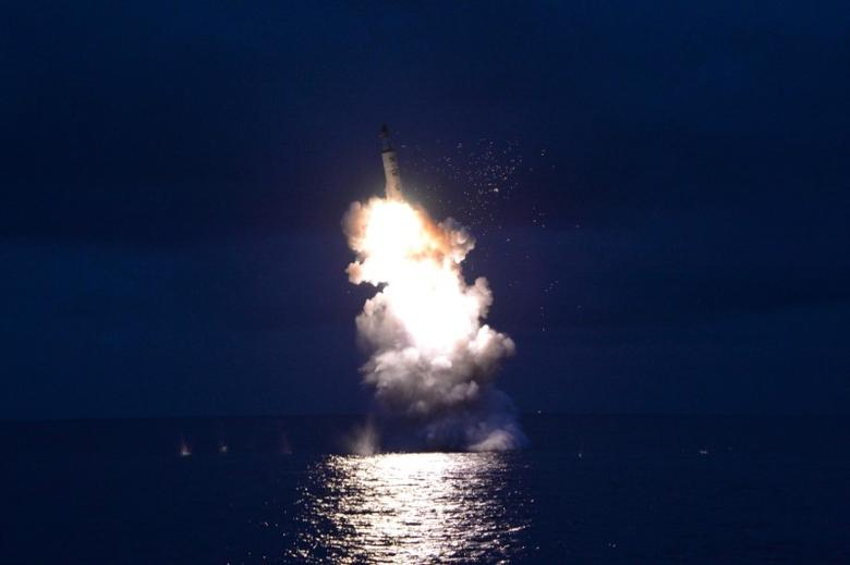 A test-fire of strategic submarine-launched ballistic missile is seen in this undated photo released by North Korea