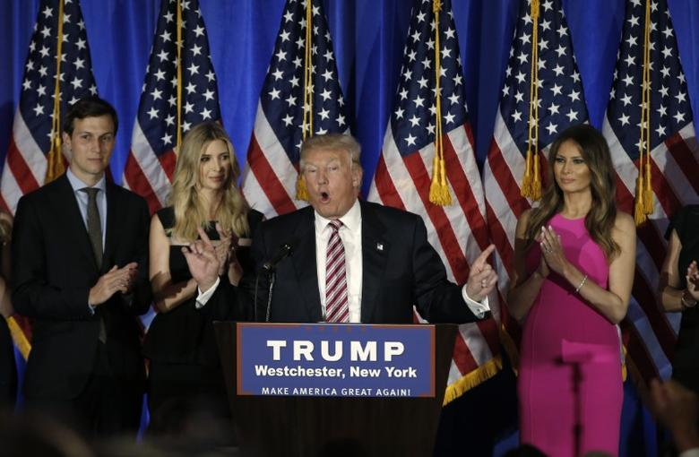 Republican presidential candidate Donald Trump speaks as his son in law Jared Kushner (L), daughter Ivanka and wife Melania (R) listen at a campaign event on the day that several states held presidential primary elections, including California, at the Trump National Golf Club Westchester in Briarcliff Manor, New York, U.S., June 7, 2016.  REUTERS/Mike Segar