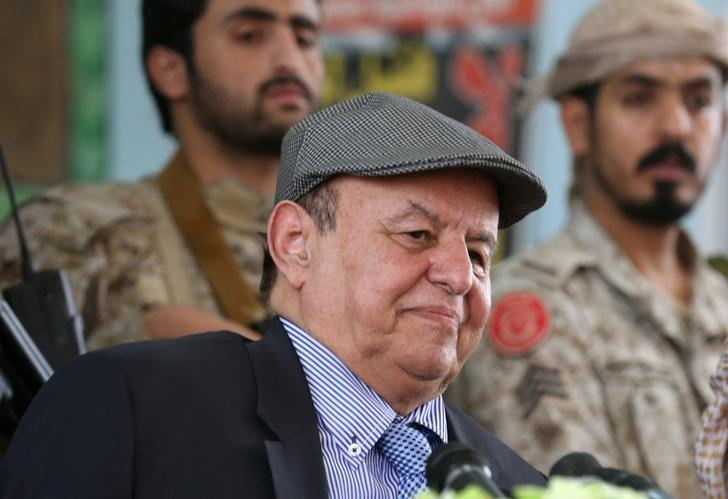Yemen's President Abd-Rabbu Mansour Hadi attends a meeting with local officials during a visit to the coutry's northern province of Marib July 10, 2016. REUTERS/ Ali Owidha