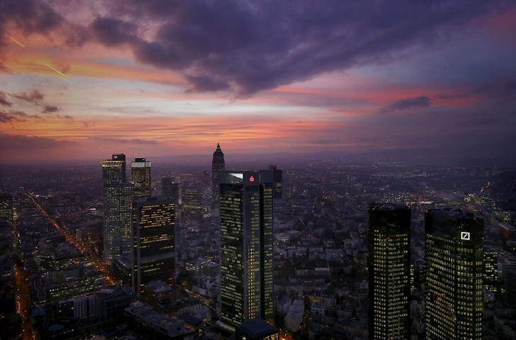 The skyline is photographed early evening in Frankfurt, Germany, January 26, 2016.  REUTERS/Kai Pfaffenbach/File Photo