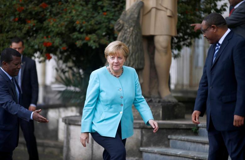 German Chancellor Angela Merkel arrives at the National Palace in Ethiopia's capital Addis Ababa October 11, 2016. REUTERS/Tiksa Negeri