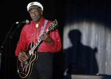 Rock and roll legend Chuck Berry performs during the Bal de la Rose in Monte Carlo, Monaco on March 28, 2009.    REUTERS/Eric Gaillard/File Photo