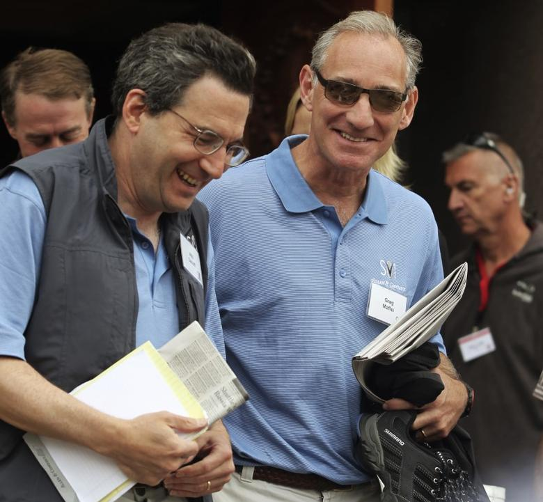 Fidelity Investments Contrafund manager Will Danoff (L) and Liberty Media CEO Greg Maffei (R) attend the second day of the Sun Valley Conference in Sun Valley, Idaho July 7, 2011. The annual conference that has taken place in Central Idaho since 1983 features invited attendance by world business elite, global political leaders, entertainment giants and major figures in international philanthropic and cultural spheres.  REUTERS/Anthony Bolante