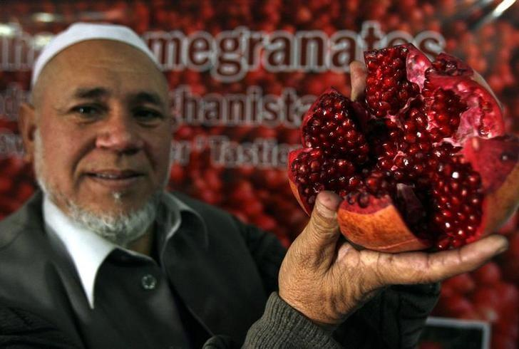 An Afghan seller displays produce for sale during the World Pomegranate Fair in Kabul November 20, 2008. REUTERS/Omar Sobhani/Files