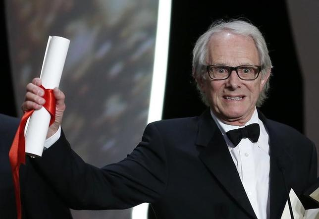 Director Ken Loach, Palme d'Or award winner for his film ''I, Daniel Blake'', reacts during the closing ceremony of the 69th Cannes Film Festival in Cannes.   REUTERS/Eric Gaillard