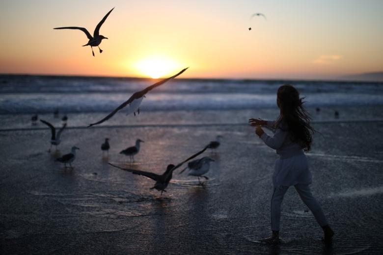 A girl throws bread crumbs into the Pacific Ocean during the Tashlich prayer, a Rosh Hashanah ritual to symbolically cast away sins, during the Nashuva Spiritual Community Jewish New Year celebration on Venice Beach in Los Angeles, California, United States October 3, 2016. REUTERS/Lucy Nicholson