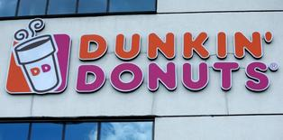 The logo of Dunkin' Donuts is on display in Tbilisi, Georgia, July 13, 2016. REUTERS/David Mdzinarishvili
