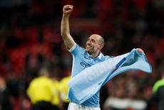 Football Soccer - Liverpool v Manchester City - Capital One Cup Final - Wembley Stadium - 28/2/16 Manchester City's Pablo Zabaleta celebrates after the game Action Images via Reuters / Paul Childs Livepic