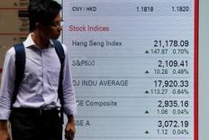 Табло с данными о фондовых индексах Гонконга, Китая и США. Фондовый рынок Китая показал в среду сильнейший за последнюю неделю спад, что отчасти обусловлено сохраняющимся беспокойством по поводу нехватки ликвидности в стране, вызвавшего рост доходности гособлигаций, тогда как коррекция сырьевых акций нивелировала подъем в секторе здравоохранения и потребительском секторе.  REUTERS/Bobby Yip