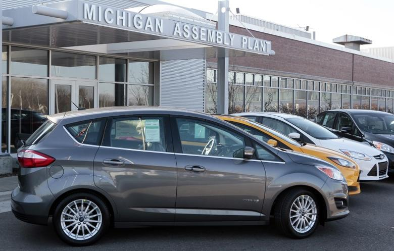 A Ford 2013 Ford C-MAX Hybrid vehicle is seen on display <a href=